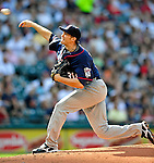 5 September 2009: Minnesota Twins' starting pitcher Scott Baker on the mound against the Cleveland Indians at Progressive Field in Cleveland, Ohio. The Twins defeated the Indians 4-1 in the second game of their three-game weekend series. Mandatory Credit: Ed Wolfstein Photo