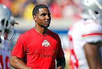 Ohio State Buckeyes quarterback Braxton Miller (5) watches warm ups before their game against California Golden Bears at Memorial Stadium in Berkeley, California on September 14, 2013.  (Dispatch photo by Kyle Robertson)
