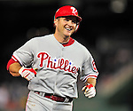 29 September 2010: Philadelphia Phillies' infielder Mike Sweeney comes home after hitting a home run against the Washington Nationals at Nationals Park in Washington, DC. The Phillies defeated the Nationals 7-1 to take the rubber game of their 3-game series. Mandatory Credit: Ed Wolfstein Photo
