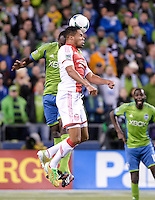 November, 2013: CenturyLink Field, Seattle, Washington:  Portland Timbers defender/midfielder Rodney Wallace (22) heads the ball as the Portland Timbers defeat  the Seattle Sounders FC 2-1 in the Major League Soccer Playoffs semifinals Round.