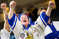 A finnish fan celebrates after the Ice Hockey World Championship quarter-final match between the US and Final in the Lanxess Arena in Cologne, Germany, 18 May 2017. Photo: Marius Becker/dpa /MediaPunch ***FOR USA ONLY***