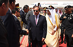 Saudi Arabia's King Salman bin Abdulaziz al-Saud receiving Egyptian President Abdel Fattah al-Sisi, upon the latter's arrival in the capital Riyadh on 23 April 2017. Photo by Egyptian President Office