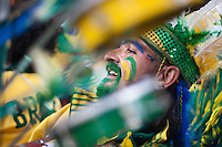 A Brazil samba fans beats on his drum before the 2010 World Cup match at Ellis Park Stadium.  Chile played Brazil at Ellis Park in Johannesburg, South Africa on Monday, June 28, 2010.  Brazil defeated Chilie 3-0.