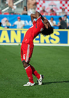 05 June 2010: Toronto FC midfielder Julian de Guzman #6 reacts to missing a chance at goal during a game between the Kansas City Wizards and Toronto FC at BMO Field in Toronto..The game ended in a 0-0 draw.