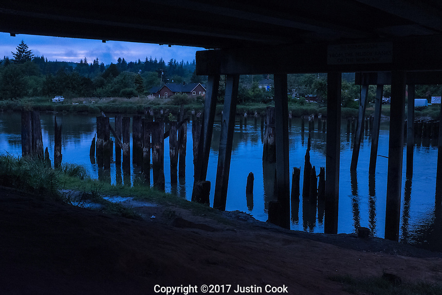 Kurt Cobain Memorial Park at the Young Street bridge where Kurt Cobain used to sleep as a teenager in his hometown of Aberdeen, WA on Friday, June 9, 2017. (Justin Cook)