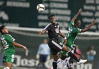 Luciano Emilio #11 of D.C. United heads the ball away from Erick Norales #5 of Marathon during a CONCACAF Champions League match on September 24 2009 at RFK Stadium in Washington D.C..