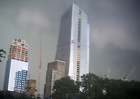 The under construction 10 Hudson Yards in New York on Thursday, July 14, 2016 just prior to a severe summer thunderstorm. The building currently houses Coach, with L'Oreal USA and other firms expected to move in. (© Richard B. Levine)