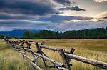 Idaho, Eastern, Teton Valley, Driggs. Stormy skies and sun over the  Teton Range in late summer.