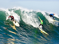 Greg Long, Evan Slater, and Tyler Smith all decide to rid a big one.   Mavericks Surf Contest 2008.  Half Moon Bay, Ca.  January 12, 2008.