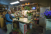 Dave Talbott arranges flowers while watching the Ohio State-Michigan game in the small television set in his back room.