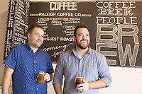Mike Sholar and A.J. Viola, owners of BREW in Raleigh, North Carolina on Friday, September 26, 2014. (Justin Cook)