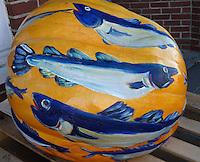Painted salmon pumpkin for pumpkin festival, Damariscotta Main 2010