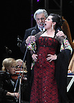 Opera soprano singer Maria Alejandres and tenor singer Placido Domingo perform an opera song during the Concert of the Angel in Mexico City, December 19, 2009. Domingo and Alejandres played the concert with sopranos singers Olivia Gorra and Eugenia Garza. Photo by Heriberto Rodriguez
