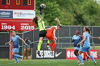 Piscataway, NJ - Saturday May 20, 2017: Kailen Sheridan, Morgan Brian during a regular season National Women's Soccer League (NWSL) match between Sky Blue FC and the Houston Dash at Yurcak Field.  Sky Blue defeated Houston, 2-1.