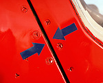 Detail of a Hawk aircraft of the 'Red Arrows', Britain's Royal Air Force aerobatic team.
