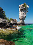 Natural rock sculpture at Flowerpot Island, Fathom Five National Marine Park, Ontario, Canada.