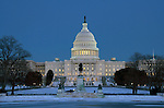 U.S. Capitol Building on snowy evening
