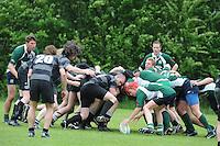 RUGBY: GORREDIJK: Sportpark Kortezwaag, 26-05-2013, Friesland Cup, Feanster Rugbyclub tegen RC De Wrotters Gorredijk (groen), rechts voor Suzan Zijlstra tussen de mannen, ©foto Martin de Jong