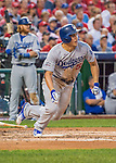 7 October 2016: Los Angeles Dodgers shortstop Corey Seager in action during Game 1 of the NLDS against the Washington Nationals at Nationals Park in Washington, DC. The Dodgers edged out the Nationals 4-3 to take the opening game of their best-of-five series. Mandatory Credit: Ed Wolfstein Photo *** RAW (NEF) Image File Available ***