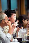 "Customers enjoy dinner aboard a ""Yakata-bune"" pleasure boat named ""Kachidoki"", which is operated by Harumiya Co. in Tokyo, Japan on 31 August  2010. .Photographer: Robert Gilhooly"