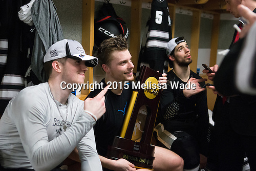 Mark Adams (PC - 4), Trevor Mingoia (PC - 9), Kyle McKenzie (PC - 5) - The Providence College Friars celebrated their national championship win after the Frozen Four final at TD Garden on Saturday, April 11, 2015, in Boston, Massachusetts.