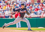 11 March 2013: Atlanta Braves pitcher Cory Gearrin on the mound during a Spring Training game against the Washington Nationals at Space Coast Stadium in Viera, Florida. The Braves defeated the Nationals 7-2 in Grapefruit League play. Mandatory Credit: Ed Wolfstein Photo *** RAW (NEF) Image File Available ***