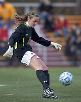 Second half substitute Boston College goalkeeper Jessica Mickelson (25). Boston College defeated Marist College, 6-1, in NCAA tournament play at Newton Campus Field, November 13, 2011.