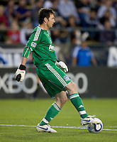 Earthquakes' goalkeeper Joe Cannon in action during the game against the Crew at Buck Shaw Stadium in Santa Clara, California on June 2nd, 2010.  San Jose Earthquakes tied Columbus Crew, 2-2.