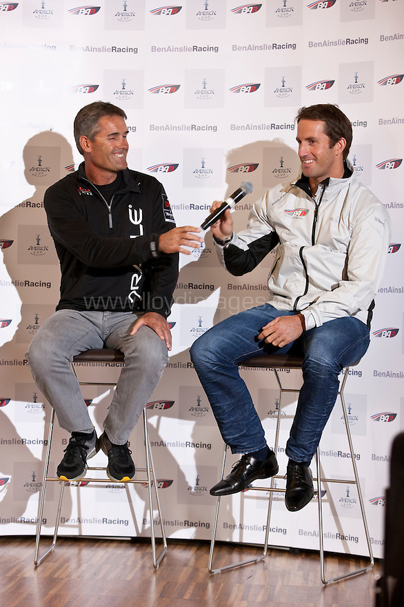 Ben Ainslie, four time Olympic medallist pictured with Russell Coutts, head of Oracle Racing and current holder of the Americas Cup. .Presented by Annabel Croft in central London as he launches &quot;Ben Ainslie Racing&quot;. A new team that will compete in 2012 Americas Cup World Series..Credit: Lloyd Images / Ben Ainslie Racing