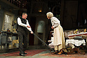 London, UK. 08.07.2013. THE LADYKILLERS, by Graham Linehan, and directed by Sean Foley, opens at the Vaudeville Theatre. Picture shows: John Gordon Sinclair (Professor Marcus) and Angela Thorne (Mrs Wilberforce). Photograph © Jane Hobson.