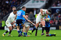 Jamie George of England takes on the Italy defence. RBS Six Nations match between England and Italy on February 26, 2017 at Twickenham Stadium in London, England. Photo by: Patrick Khachfe / Onside Images