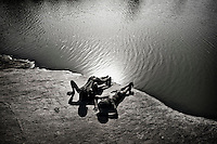 South Sudan. 18 March 2011...Children playing on the banks of a Nile tributary, near Wau..