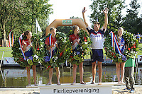 FIERLJEPPEN: GRIJPSKERK: 27-08-2016, Nederlands Kampioenschap Fierljeppen/Polsstokverspringen, v.l.n.r. Dymphie van Rooijen 15.35 meter (dames), Ricardo Faaij mei 18.72 meter (junioren), Reinier Overbeek, 17.95 meter (jongens), Bart Helmholt 20.41 meter (heren), Sigrid Bokma, 14.82 meter (meisjes), ©foto Martin de Jong