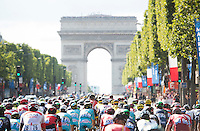 Picture by Alex Broadway/ASO/SWpix.com - 24/07/16 - Cycling - Tour de France 2016 - Stage Twenty-One - Chantilly to Paris Champs-&Eacute;lys&eacute;es - The peloton rides up the Champs-&Eacute;lys&eacute;es.<br /> NOTE : FOR EDITORIAL USE ONLY. COMMERCIAL ENQUIRIES IN THE FIRST INSTANCE TO simon@swpix.com THIS IS A COPYRIGHT PICTURE OF ASO. A MANDATORY CREDIT IS REQUIRED WHEN USED WITH NO EXCEPTIONS to ASO/ALEX BROADWAY