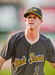 12 July 2015: West Virginia Black Bears infielder Kevin Newman, first round draft pick for the Pittsburgh Pirates organization, stands outside the dugout during a game against the Vermont Lake Monsters at Centennial Field in Burlington, Vermont. The Lake Monsters rallied to defeat the Black Bears 5-4 in NY Penn League action. Mandatory Credit: Ed Wolfstein Photo *** RAW Image File Available ****