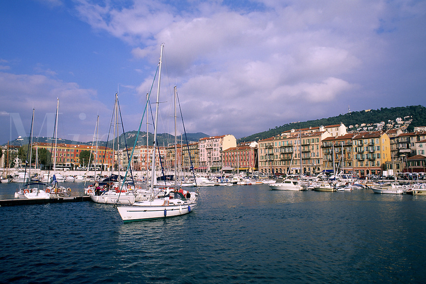 colorful harbor in Provence at Nice France