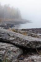 Lake Superior shoreline on a foggy autumn morning near Split Rock Lighthouse.