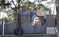 Frank Gehry: Gehry House, 1978.  Washington Ave. (North Elevation), Santa Monica, CA.  Photo '86.