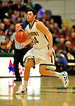 16 January 2012: University of Vermont Vermont Catamounts' guard Josh Elbaum, a Sophomore from Melville, NY, in action against the University of Maine Black Bears at Patrick Gymnasium in Burlington, Vermont. The Catamounts defeated the Black Bears 79-65 notching their 10th win of the season. Mandatory Credit: Ed Wolfstein Photo