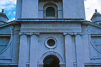 """Nicholas Hawksmoor: St. George-in-the-East. Porch detail. """"Decoration is restricted to the Corinthian order at the base of the tower."""" Photo '90."""