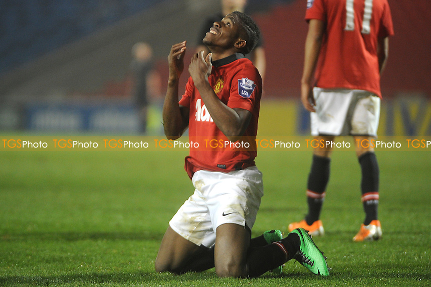 Wilfried Zaha of Manchester United dejected after a missed chance - Manchester United Under-21 vs Middlesbrough Under-21 - Barclays Under-21 Premier League Football at Salford City Stadium, Manchester - 20/01/14 - MANDATORY CREDIT: Greig Bertram/TGSPHOTO - Self billing applies where appropriate - 0845 094 6026 - contact@tgsphoto.co.uk - NO UNPAID USE