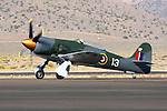 Nelson Ezell taxies the Howard Pardue owned Hawker Sea Fury 'Fury' prior to a heat race during the 2008 Reno National Championship Air Races at Stead Field in Nevada. The Pratt & Whitney R3500 powered Sea Fury finished 6th in the Gold Unlimited Finals with a speed of 414.834 mph.