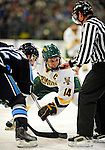 29 January 2010: University of Vermont Catamount forward Brian Roloff, a Senior from West Seneca, NY, takes a second period faceoff against the University of Maine Black Bears at Gutterson Fieldhouse in Burlington, Vermont. The Black Bears defeated the Catamounts 6-3 in the first game of their America East weekend series. Mandatory Credit: Ed Wolfstein Photo