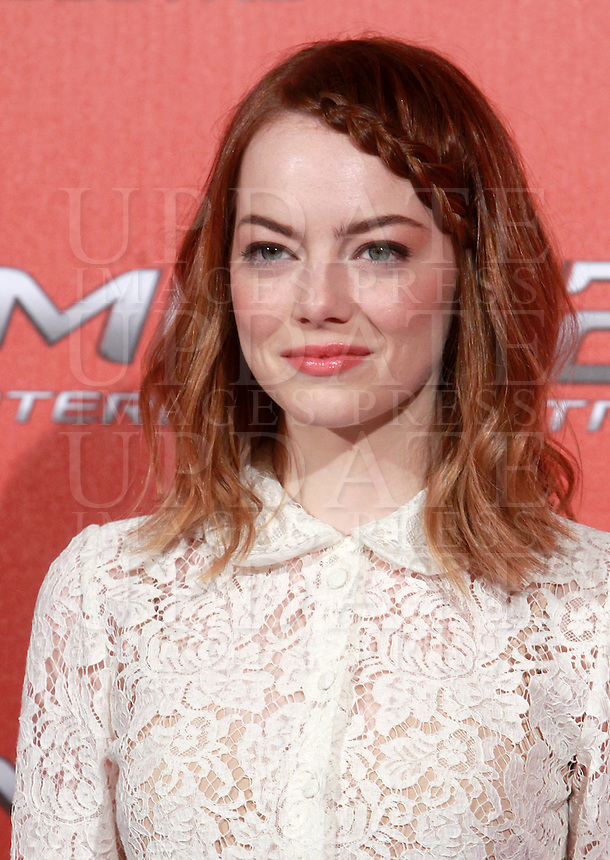 L'attrice statunitense Emma Stone posa durante un photocall per la presentazione del film &quot;The Amazing Spider-Man 2 - Il potere di Electro&quot; a Roma, 14 aprile 2014.<br /> U.S. actress Emma Stone poses during a photocall for the presentation of the movie &quot;The Amazing Spider-Man 2&quot; in Rome, 14 April 2014.<br /> UPDATE IMAGES PRESS/Isabella Bonotto
