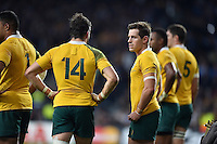 Bernard Foley of Australia looks dejected after his side concedes a try. Rugby World Cup Final between New Zealand and Australia on October 31, 2015 at Twickenham Stadium in London, England. Photo by: Patrick Khachfe / Onside Images