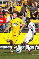27 MARCH 2010:  Robbie Rogers of the Columbus Crew (18) and Amadou Sanyang of Toronto FC (22) during the Toronto FC at Columbus Crew MLS game in Columbus, Ohio on March 27, 2010.