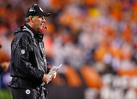 Defensive coordinator Keith Butler of the Pittsburgh Steelers looks on against the Cincinnati Bengals during the Wild Card playoff game at Paul Brown Stadium on January 9, 2016 in Cincinnati, Ohio. (Photo by Jared Wickerham/DKPittsburghSports)