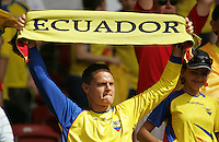 An Ecuador fan cheers on his team before the game.  England defeated Ecuador, 1-0, in their FIFA World Cup round of 16 match at Gottlieb-Daimler-Stadion in Stuttgart, Germany, June 25, 2006.