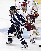 Kristina Lavoie (UNH - 10), Melissa Bizzari (BC - 4) - The Boston College Eagles and the visiting University of New Hampshire Wildcats played to a scoreless tie in BC's senior game on Saturday, February 19, 2011, at Conte Forum in Chestnut Hill, Massachusetts.