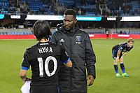San Jose, CA - Friday April 14, 2017: Jahmir Hyka, Shaun Francis  during a Major League Soccer (MLS) match between the San Jose Earthquakes and FC Dallas at Avaya Stadium.